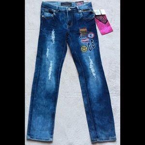 LAVD Girls Distressed Emoji Jeans, Sz 8, straight